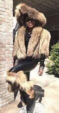 Unique Designer crop Finnish Tanuki Raccoon Fur Coat vest +Free brim hat M 4-10