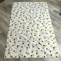 Vintage Handmade Tie Quilt Throw Blanket Folk Art Floral Yarn Knot 42x65