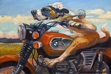 FUNNY DOG POSTER puppy cat riding BMW motorcycle cruising humor 14x11 art print