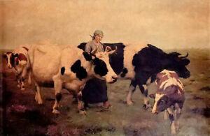 Oil painting eugene van hove - dans les polders woman with cows milkwoman cattle