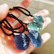 Natural Gemstone Crystal Clear Fluorite Quartz Healing Stone Pendant Necklace HQ
