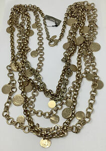 """Chico's Chunky Gold-tone Multi-strand Ancient Coin Statement Necklace 28""""(370 g)"""