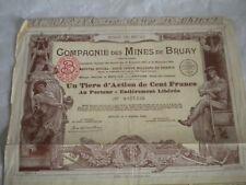 Vintage share certificate Stock Bonds actions Compagnie des Mines de Bruay 1939