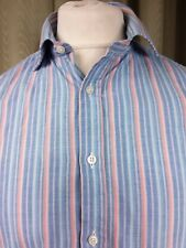 """Thomas Pink Finest Cotton Blue Pink Green Striped Double Cuff Shirt 15.5"""" C40"""""""