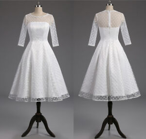 New 1950s Short White Wedding Dresses Retro Polka Dotted Tea Length Bridal Gowns