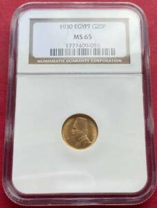 EGYPT , GOLD 20 PIASTRES KING FUAD 1930 - NGC MS 65 , RARE