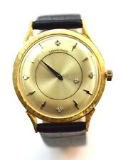 W295-VINTAGE 14K GOLD LONGINES ADMIRAL DIAMOND DIAL GENTS WATCH EXCELLENT!