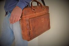 "Rustic Leather Satchel 17"" Laptop Bag Vintage Leather Briefcase Genuine Leather"