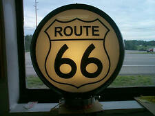 gas pump globe ROUTE 66 reproduction 2 glass faces in a body NEW & LIGHT STAND