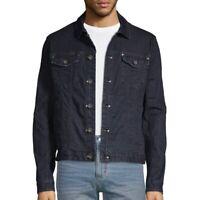 John Varvatos Star USA Men's Long Sleeve Denim Trucker Button Jean Jacket Navy