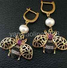 White natural freshwater Pearl 24k gold plated CZ Pave Bees Earrings