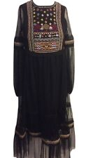New Tagged Zara Beaded Tulle Boho Midi Dress Black Size Small