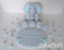 Christening baptism elephant plaque Edible Handmade cake decorations toppers