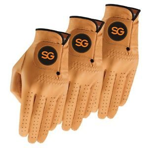 PACK OF 3 SG Men Colored Cabretta leather golf gloves GREAT VALUE FOR MONEY