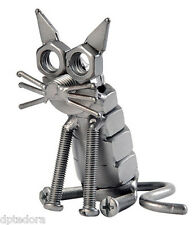 Cat Hand Crafted Recycled Metal Art Sculpture Figurine