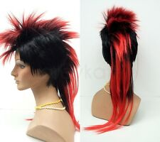 Mens Black Red Mohawk Wig Long Straight Punk Rock Synthetic Costume