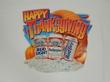 """Vintage Budweiser/Bud Dry/Bud Light Beer """"Happy Thanksgiving"""" Poster Made in Usa"""