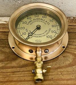 """LARGE 6"""" Early 1900 Vintage Brass ASHCROFT Pressure Gauge, Steam Boiler Antique"""