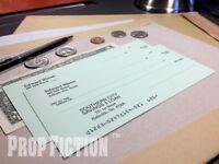 Big Fish - Pair of Movie Prop Edward Bloom Bank Cheques / Bank Checks