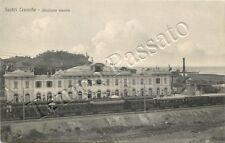Cartolina di Sestri Levante, treno in stazione della ferrovia - Genova