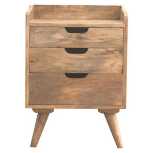 100% Solid Wood Bedside Table 3 Cut Out Drawers Natural Oak Finish Handmade