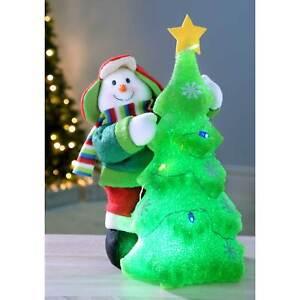Snowman Christmas Tree Decoration 39 cm Pre-Lit with Colour Changing LED Light