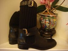 $1000 Gucci Black Boots Gold Leather Sweater NEW Size 39.5 = ~9 US Fall Winter*