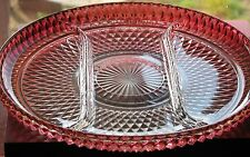 Indiana Glass DIAMOND POINT Ruby/Cranberry Flashed Divided Platter