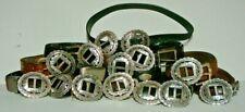 12 Used Leather Belts + 14 Belt Buckles
