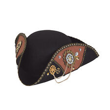 Steampunk Tricorn Hat Mens Victorian Pirate Fancy Dress Costume Accessory Prop
