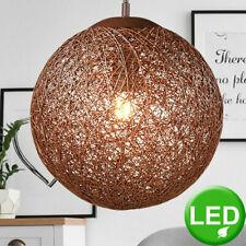 LED Hänge Lampe Rattan Kugel Decken Strahler braun SAMSUNG Chip Leuchte WOFI