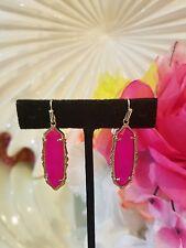 Kendra Scott Rare Pink Agate Fran Earrings In Gold.  HTF EUC