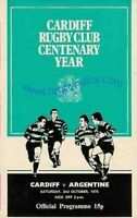 ARGENTINA 1976 RUGBY TOUR PROGRAMME v CARDIFF 2nd October, Cardiff