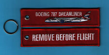 Boeing 787 Dreamliner Remove Before Flight embroidered Key Ring/Tag - New