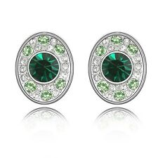 18K White Gold Plated Made With Swarovski Crystal Emerald Oval Stud Earrings