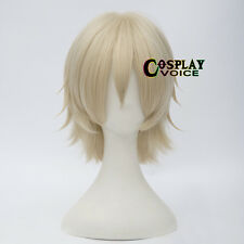 Light Blonde  Heat Resistant Short Layered 30cm Women Men Anime Cosplay Wig+Cap