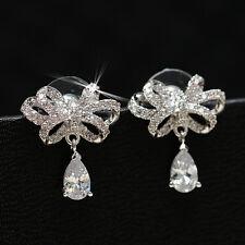 Women 925 Sterling Silver CZ Bowknot Cubic Zirconia Waterdrop Ear Stud Earrings