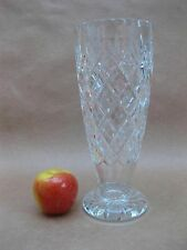 Vintage Royal Doulton Cut Glass Footed Vase ~ 25 cm Tall ~ Crystal Glass