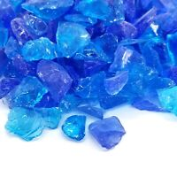 """BLUE, TURQUOISE 1/2"""" - 1"""" Premium Large Fire Glass for Fireplace and Fire Pit"""