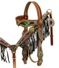 Showman Navajo diamond design headstall and breast collar set with fringe! Tack