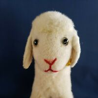 "Large VINTAGE Steiff Lamby LAMB, wool Plush Button IDs 10"" Tall Glass Eyes C1968"