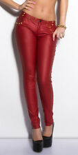 Sexy Women's club skinny stretch Trousers wet leather look Leggings Pants