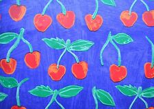 "Vintage Antique PAPER CRAFT Scrapbook cherry fruits Sheet naif 20""x27.5"" -e--"