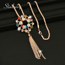 2017 Charm Women Rhinestone Flower Tassel Pendant Long Necklace Chain MY288