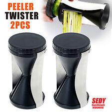 2 pk Twist Slicer Spiral Julienne Fruit Vegetable Cutter Twister Peeler Kitchen