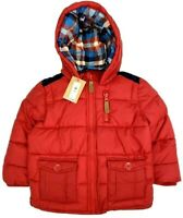 New John Lewis Baby Boys Red Navy Hooded Padded Quilted Warm Winter Jacket Coat