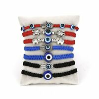7pcs/set Lucky Evil Eye Beaded Bracelet Rope String Braid Bangle Owl Palm Charm
