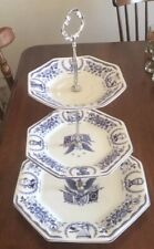 Midland Enterprises Freedom Forever Patriotic Porcelain Blue 3-tier Tidbit Tray