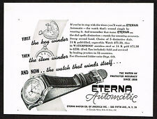 1940s Original Vintage 1948 Eterna Automatic Swiss Watch Paper Print Ad