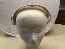 Ladies Vintage Hat  Headpiece Sateen Finish Grayish Blue W/ Faux Pearl Accent